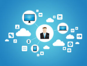Abstract graphic vector concept of businessman using cloud computing network with technology devices. Isolated on blue background