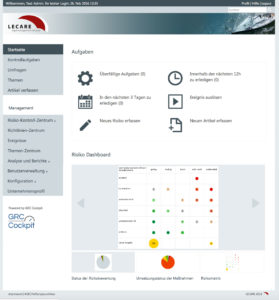 Dashboard GRC Cockpit im neuen Lecare Design