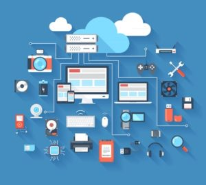 27493504 - vector illustration of hardware and cloud computing concept on blue background with long shadow.